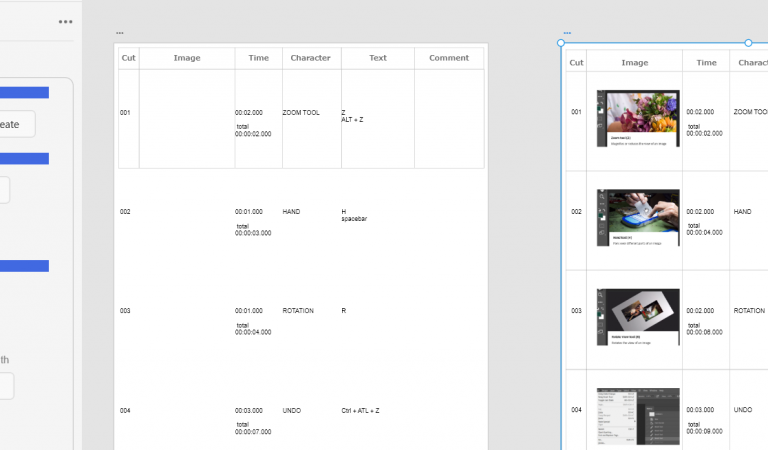 SbE example  – Photoshop keyboard shortcuts